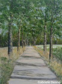 Landschaft, Weg, Baumallee, Malerei