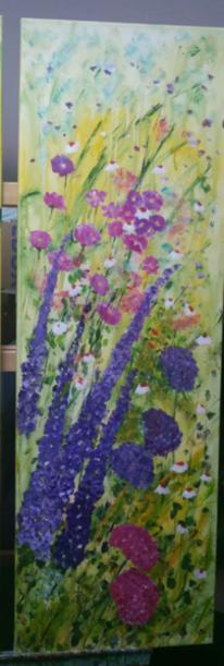 Blumengarten, Gemälde, Blumen, Acrylmalerei