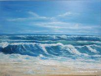 Welle, Strand, Acrylmalerei, Brandung
