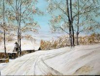 Winterlandschaft, Winter, Schnee, Malerei