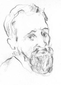 Mann, Bart, Grafit, Zeichnung