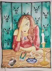 Skepsis, Aquarellmalerei, Portrait, Rot