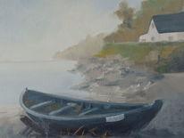 See, Ölmalerei, Boot mit haus, Malerei