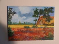 Lüneburger heide, Öl auf leinen, Malerei, Heide