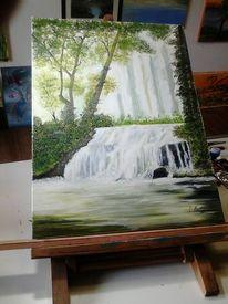Malerei, Wasserfall öl, Auf leinen, Wasserfall