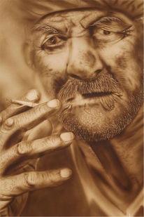 Airbrush, Portrait, Alter mann, Malerei