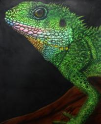 Echse, Tierportrait, Airbrush, Malerei