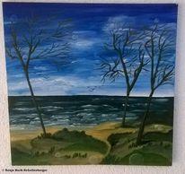 Baum, Meer, Acrylmalerei, Dünen