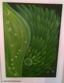 Blase, Grüner flügel, Acrylmalerei, Malerei