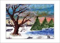 Schnee, Ölmalerei, Wasser, Gemälde