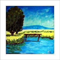 Busch, Wasser, Gemälde, Strauch