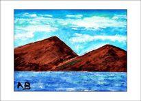 Meer, Welle, Gemälde, Landschaft