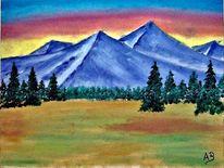 Gemälde, Wiese, Landschaftsmalerei, Baum