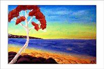 Ölmalerei, Wiesesonnenunterganghimmel, Strand, Welle