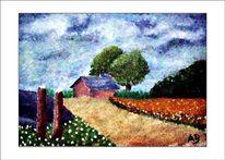 Ölmalerei, Wiese, Haus, Wald