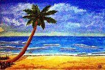 Palmen, Welle, Ölmalerei, Himmel