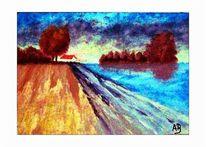 Ölmalerei, Wasser, Baum, Flusslandschaft