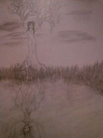 Fantasie, Frau, Natur, Zeichnung