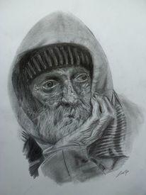 Zeichnung, Armer alter mann, Straße, Schwarz weiß