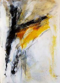 Malerei, Acrylmalerei, Gelb, Abstrakt
