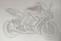 Motorrad, Bleistiftzeichnung, Monochrom, Kawasaki