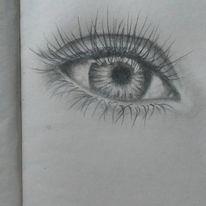 Augen, Bleistiftzeichnung, Realismus, Grau