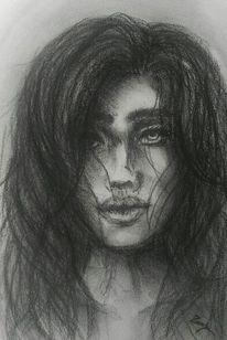 Skizze, Portrait, Frau, Grau