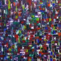 Malerei, Blau, Bunt, Rot schwarz