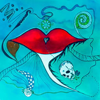 Blau, Abstrakt, Liebe, Rot