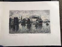 Zeichnung, Dampfschiff, Segelboot, Wasser