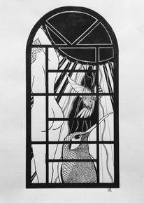 Schwarz weiß, Tusche, Zeichnung, Zeichnungen