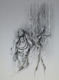 Verschlingen, Portrait, Akt, Mann