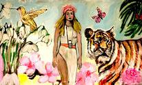 Wandbild modern, Blau, Tiger, Hippiemädchen