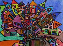 Stadt, Zeitgenössisch, Malerei, Moderne kunst