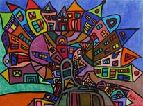 Moderne kunst, Bunt, Acrylmalerei, Stadt