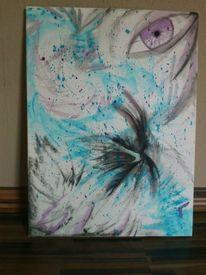 Augen, Kampf, Blauer drache, Aquarell