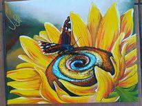 Sonnenblumen, Abstrakt, Moderne kunst, Schmetterling