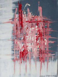 Abstrakt, Gitter, Rot, Weiß