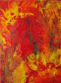 Rot, Gelb, Feuerwerk, Abstrakt