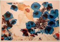 Blau, Grazile, Blüte, Hochglanzposter