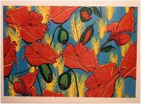 Rot, Mohnblumen, Blau, Feld