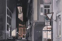 Nächtliche straßenszene, Stadt in dunkelheit, Heidelberg bei nacht, Menschenleere