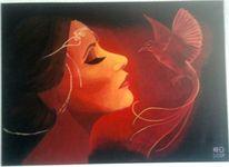Malerei, Fantasie, Frau, Vogel