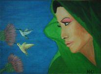 Natur, Malerei, Frau, Vogel