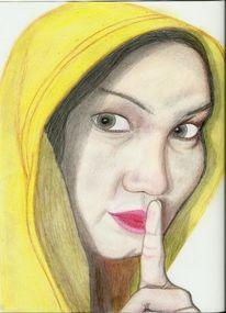 Zeichnung, Portrait, Inderin, Frau