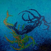 Meer, Blau, Meerjungfrau, Malerei