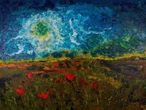 Landschaft, Natur, Malerei, Mohnfeld