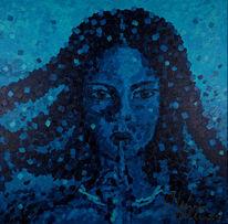Frau, Blau, Wasser, Portrait