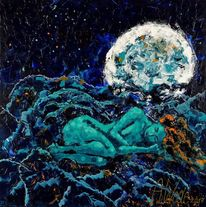 Frau, Blau, Mond, Malerei