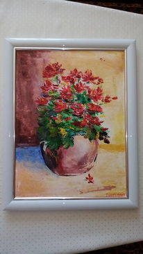 Pflanze im topf, Geranie, Blumen, Aquarellmalerei